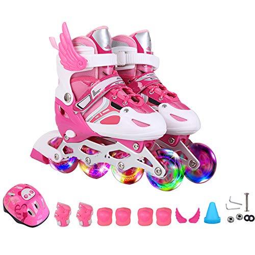 ZCRFY Rollschuhe Roller Skates Kinder Anfänger Mädchen Jungen Inline Skates Kinder Männer und Frauen 3-12 Jahre Alt Kinder Flash Einstellbare Größe Erwachsene Rollerblades,Pink-S(26-32)-Set1