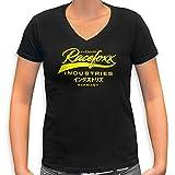 RACEFOXX V-Neck T-Shirt LADIES schwarz, Druck neon gelb, Größe XL