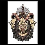 zgmtj Autoadesivo del Tatuaggio del Braccio del Fiore dell'autoadesivo del Tatuaggio del Diavolo Nero 37 148 * 210MM