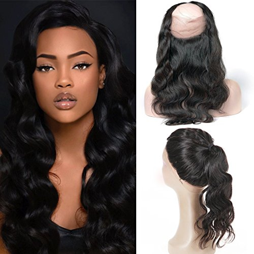 360 Lace Closure Human Hair Frontal Bleached Knots
