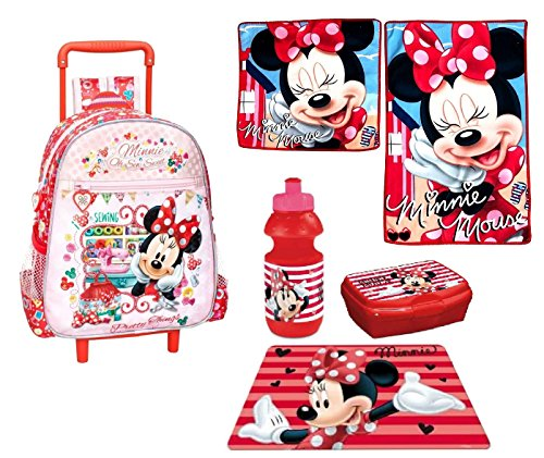 Minnie mouse topolina set zainetto zaino trolley, asciugamani ,box merrenda, borraccia , tovaglia ,scuola