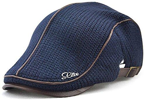 Roffatide Herren Retro Woolen Stricken Verdicken Charakteristische Farbe Matching Flatcaps Newsboy Cabbie Ivy Hüte Deep Blue (Duckbills Kostüme)