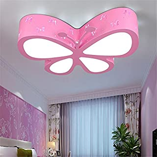 Malovecf Ceiling Light for Children's Room Bedroom LED Creative Butterfly Nursery Girls Pink Princess Room Illumination, 50x 40x 10cm, 24W, White Light pink