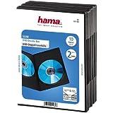 Hama DVD Double Case Super Slim 10-pack (également adapté pour les CD et Blu-ray, ultra-mince, avec une feuille pour insérer le couvercle) noir