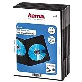 Hama DVD-Doppelhülle Super Slim 10er-Pack (auch passend für CDs und Blu-rays) ultra schmal, mit Folie zum Einstecken des Covers, schwarz