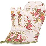 Neoviva Heat Resistant Oven Gloves for Everyday Fun Kitchen, Cute Pink Oven Mitt Set of 2 for Women, Floral Quartz Pink