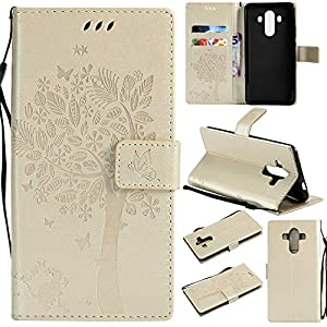 Huawei Mate 10 Pro Wallet Case, UNEXTATI Leather Flip Cover Case with Kickstand Feature for Huawei Mate 10 Pro (White #8)
