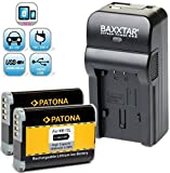 2X PATONA Ersatz für Akku Canon NB-12L (1800mAh) - Baxxtar Razer 600 Ladegerät 5in1 - Micro-USB Eingang/USB-Ausgang für Drittgeräte (Smartphone.usw.)