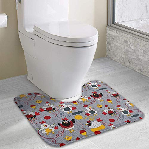 Non-Slip Soft Flannel Red Hammer and Sickle Toilet Contour Bathroom Rug with Water Absorbent Machine Washable 15.7x19.3 Inch U-Shaped