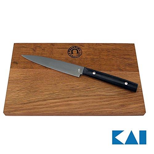 Kai Michel Bras-Serie, Quotidien BK-0027, ultrascharfes Allzweckmesser, 15 cm Klinge+ großes Scheidebrett aus Fassholz (Eiche) 30x18 cm Michel Bras Kai