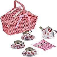 Small Foot by Legler Picknickkorb Blechgeschirr aus Holz mit Zubehör, Kindergeschirrset 20-tlg., Geschirrset / Kinderküchen-Zubehör ab 3 Jahre