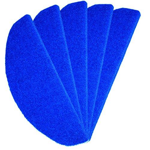 Stufenmatte Rasenteppich Blau 24 cm x 65 cm / 15 Stück - versandkostenfrei schadstoffgeprüft pflegeleicht schmutzresistent robust strapazierfähig Balkon Terrasse Garten Camping Freizeit (Ovale Indoor-teppiche Wolle)