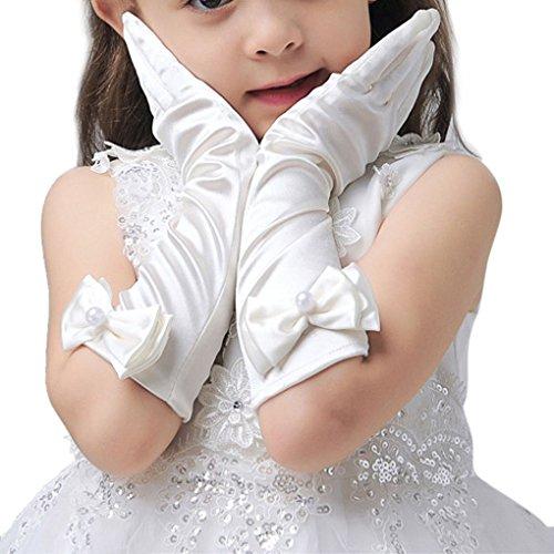 L-Peach Mädchen Kinder Satin Lange Abendhandschuhe Handschuhe Brautjungfer Festzug Abschlussball Halloween Party Karneval Cosplay 3-15 Jahre