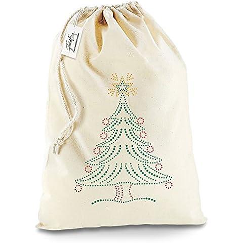 Twisted Envy Natale Albero di Natale con Babbo Natale calza di Natale sacchetto regalo, Cotone, X-Large - Approx 50cm x 70cm