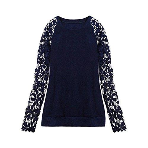 ZANZEA Donne Knit Girocollo Allentato Pullover Maglione Maglieria Camicia Camicetta Felpa Blu