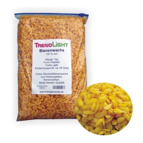 TrendLight 890022 Bienenwachs 100% rein 1 kg Pastillen zum Kerzen herstellen Markenqualität -