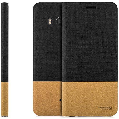 zanasta Designs Tasche HTC U11 Hülle Flip Case Slim Schutzhülle Handytasche mit Kartenfach, Standfunktion | Schwarz