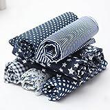 KING DO WAY Juego de 7 retales de algodón, con diseños variados en azul marino, 50 x 50 cm