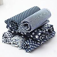 KING DO WAY Lot De 7 Pcs 50cmX50cm Tissu En Coton Couture Artisanat DIY Fabric Sewing Floral-Bleu Foncé
