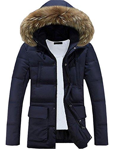 Minetom uomo sportiva manica lunga giacca con cappuccio vento imbottita moda cappotto parka caldo giubbotto lunga cappotti blu eu xxl