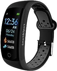 Fitness Armband Smart Bluetooth Armband 0.9 Zoll Farbdisplay Rahmen aus Aluminiumlegierung IP68 Wasserdicht Pulsmesser Cardio Schrittzähler Sport Smart Watch Band für iPhone Samsung Huawei Android
