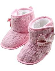 Minetom Bebé Invierno Bowknot Decoración Suave Zapatos Botas Linda Botitas Para Primeros Pasos