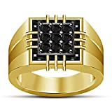 Vorra Fashion Men's Spical Gorgeous Band Ring 925 Sterling Silver 14K Gold Plated Black CZ Round Cut (14)