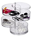 WENKO 20990100 Tower Make-Up -/ Kosmetik Organizer, mit 4 drehbaren Fächern, Acryl, 11.5 x 17.5 x 11.5 cm, transparent