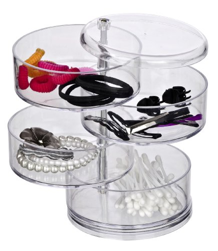 WENKO 20990100 Tower Make-Up -/ Kosmetik Organizer, mit 4 drehbaren Fächern, Acryl, 11.5 x 17.5 x 11.5 cm, transparent -