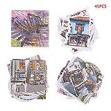 Fafalloagrron Mini-Papieraufkleber, 45 Stück/Box Reise Scenery Scrapbooking Aufkleber Stationey Dekoration