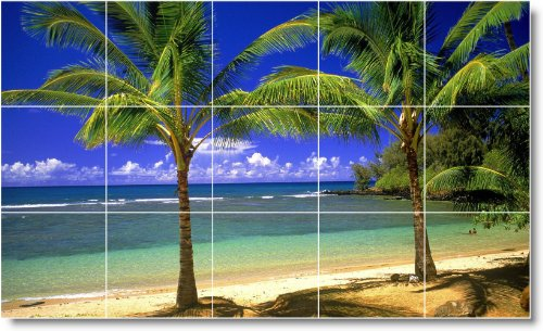 PLAYA FOTO MURAL AZULEJO B104  18X 30CM CON (15) 6X 6AZULEJOS DE CERAMICA
