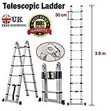 3,8m Mehrzweck-Aluminium Leiter Teleskopklapp A-Rahmen Leiter ausziehbar 12Stufen–in Großbritannien