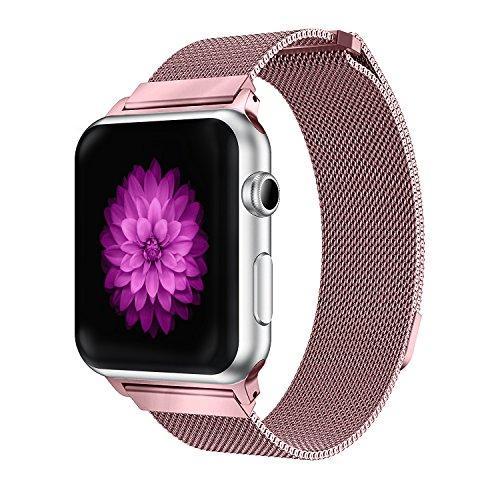 YOUKESI Apple Watch Armband 42mm, Milanaise Schlaufe Edelstahl Armbänder mit Einzigartiger Magnetverriegelung Ohne Schnalle für Apple Watch 42mm Series 3/2/1, Sport, Edition, Nike+