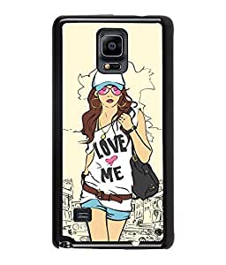 Fuson Smart Girl Back Case Cover for SAMSUNG GALAXY NOTE 4 - D4043