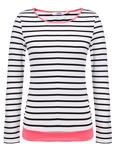 Meaneor Damen Rundhals Gestreift Stretch Basic T-Shirt Oberteile Langarmshirt Loose Bluse Tops (Stretch-shirt Baumwolle Aus Gestreiftes)