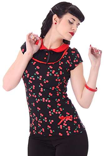 Sugar Shock MILENA Pin Up retro Rundkragen Kirschen T-Shirt Rockabilly 50s (Rockabilly-retro-shirt)