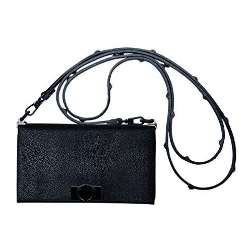 O.JACKY Premium iPhone 6/7 / 8 Hülle Leder zum Umhängen   2 in 1 Luxus Handyhülle und Etui für Apple   Handtasche mit Kartenschlitz   Schutz vor Staub Case   Cow Leather Black   Foldy 3 - Black Cow Geldbörse