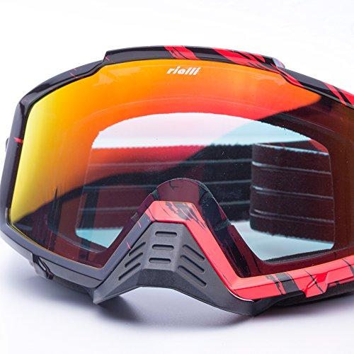 Rialli Motorrad-Schutzbrillen Motocross Wind Staubschutz Schutzbrillen Snowboard Schutzbrillen Winter Sport Brillen Dirt Bike Off-Road Schutzbrillen (Red Mirror)