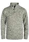 Blend Teno Herren Winter Pullover Strickpullover Troyer Grobstrick mit Knopfleiste, Größe:M, Farbe:Pewter Mix (70817)