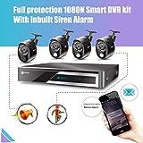 Anni CCTV Kit de videovigilancia HD cámaras Sistema,4CH 1080P AHD DVR Kit Recorder,4 x 1080p Cámaras de Exterior 2.0MP: 3 x detección de Cuerpo PIR,1 x Sonidos de Sirena Camera,visión Nocturna