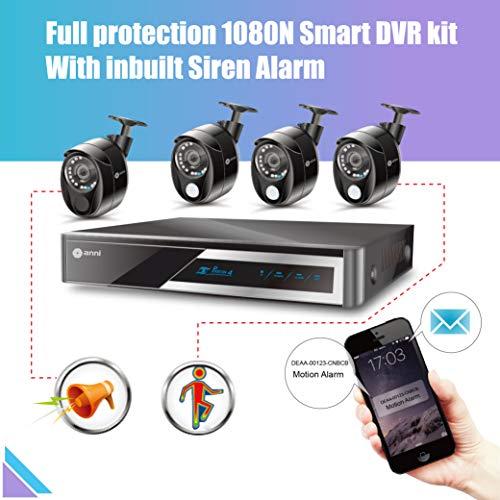 Anni Überwachungskamera System 4CH CCTV Sicherheits System, 1080P HD AHD DVR,2.0MP 1080p Wetterfestes Outdoor Kamera,IR Nachtsicht,Easy Remote Zugang(3 x PIR-Sensorkamera,1 x Sirenenalarmkamera) - Dvr-system Kit