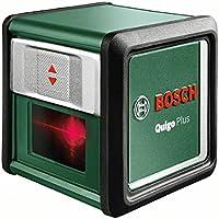 Bosch DIY Kreuzlinien-Laser Quigo Plus, 2 x AAA Batterien, Arbeitsklemme MM2, Schnell-Montage Platte, Stativ, Karton (Reichweite 7 m, Neigungsfunktion, Selbstnivellierend)