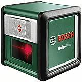 Bosch DIY Kreuzlinien-Laser Quigo Plus, 2 x AAA Batterien, Schnell-Montage Platte, Stativ, Karton (Reichweite 7 m, Neigungsfunktion, Selbstnivellierend)
