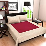"Linenwalas Thick Cotton Damask Self Jacquard Jaipuri Hand Block Print Bedcover With Pillow Covers - Pink Polka Dot Design - Ivory, Dark Pink - King Size (90""x100"")"