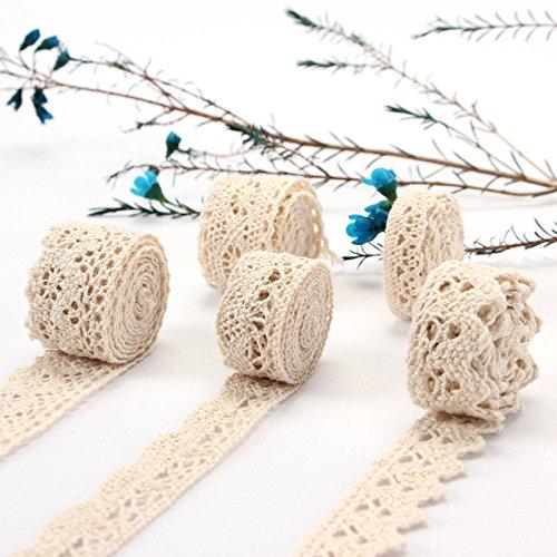 ToBeIT Vintage spitzenband 30 Meter aus Baumwolle- Beige spitzenband Absofine Dekoband Zierband Spitzenstoff Spitzenborte für Nähen Handwerk Hochzeit Deko Scrapbooking Geschenkbox