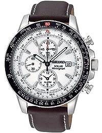 Seiko Herren-Armbanduhr XL Solar Chronograph Quarz Leder SSC013P1