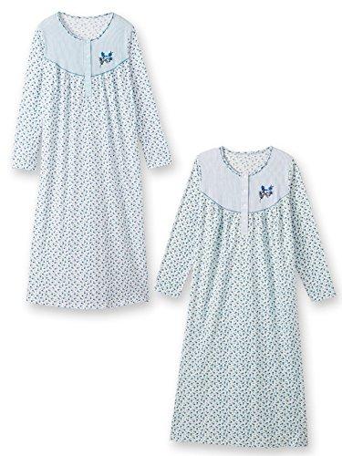 Lingerelle - Chemises de nuit manches longues, lot de 2 Imprime bleu + imprime blanc