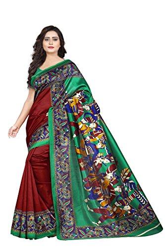 Jaanvi Fashion Women\'s Art Silk Kalamkari Printed Saree (Red)