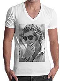 b0a0f1e40814f5 thedifferent T-Shirt Homme col V Steve Mcqueen Lunettes Sunglasses – Blanc