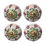 #9: ClayArt Round Floral Handpainted Ceramic Door Knobs, Pulls, Cabinate Handle. Set of 4 pcs